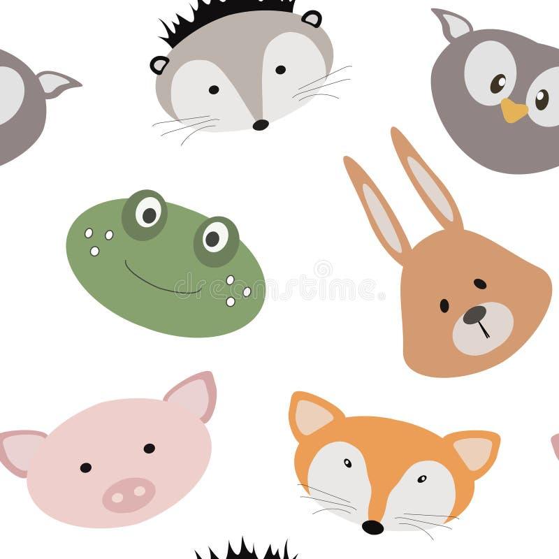 Άνευ ραφής σύσταση με τα ζώα κινούμενων σχεδίων Σχέδιο με τα ζώα για τα παιδιά textile να είστε μπορεί σχεδιαστής κάθε evgeniy δι ελεύθερη απεικόνιση δικαιώματος
