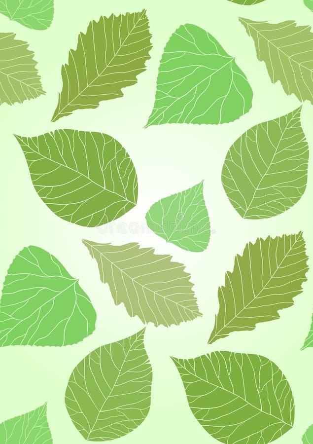 Άνευ ραφής σύσταση με τα διαφανή πράσινα φύλλα διανυσματική απεικόνιση