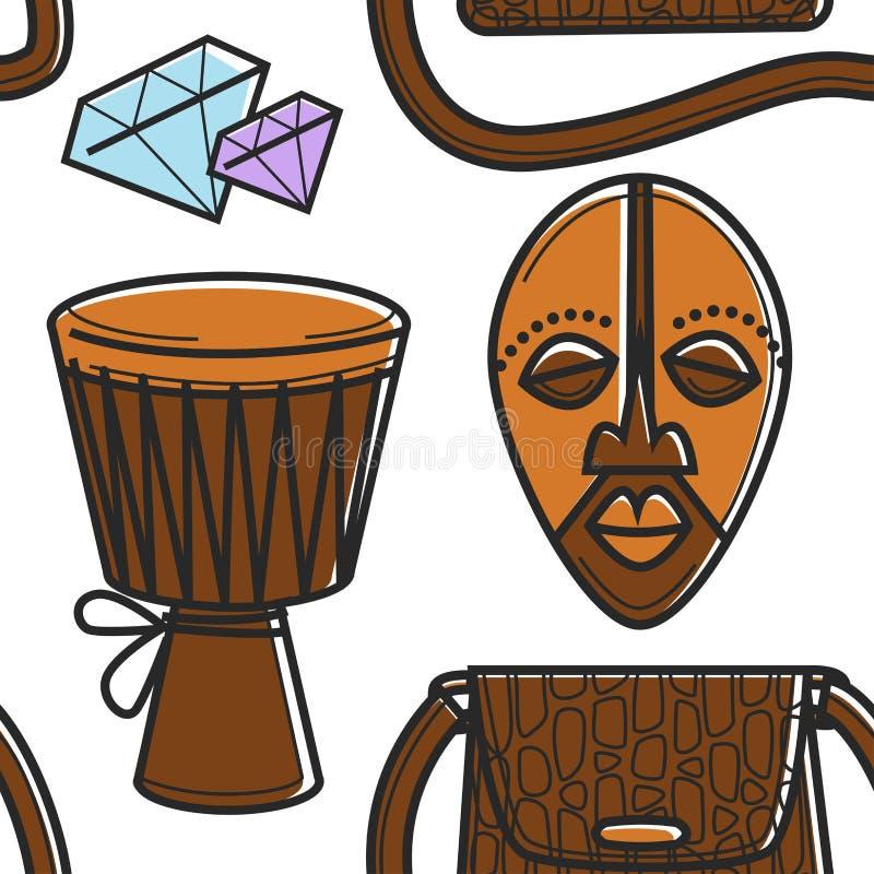 Άνευ ραφής ταμ-ταμ και μάσκα σχεδίων συμβόλων της Νότιας Αφρικής διανυσματική απεικόνιση