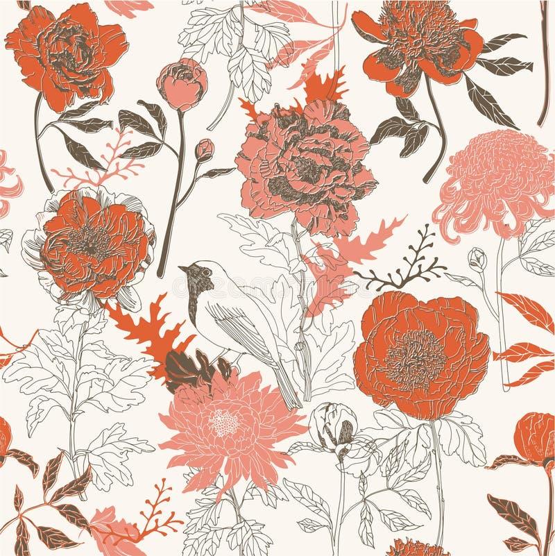 Άνευ ραφής ταπετσαρία συρμένων των χέρι λουλουδιών απεικόνιση αποθεμάτων