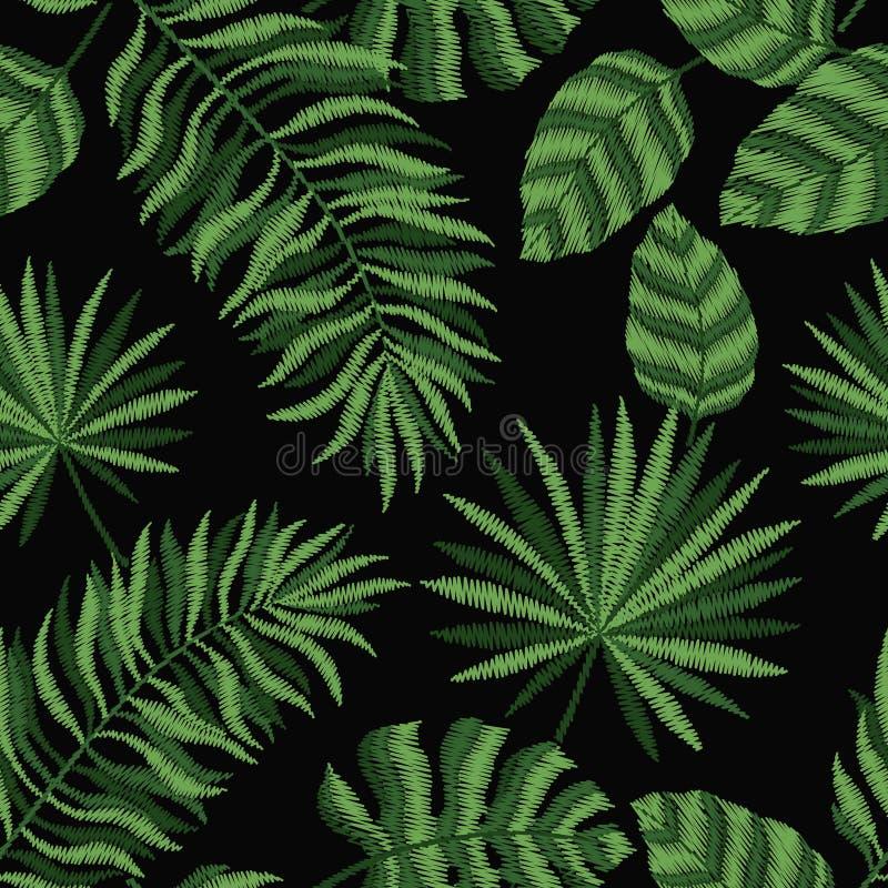 Άνευ ραφής ταπετσαρία σύστασης σχεδίων κεντητικής, υπόβαθρο, με τα τροπικά φύλλα μαύρο floral διάνυσμα διακοσμήσεων απεικόνιση αποθεμάτων