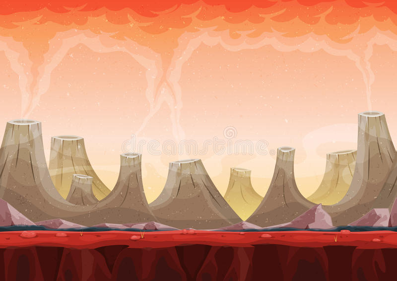 Άνευ ραφής τοπίο πλανητών ηφαιστείων για το παιχνίδι Ui απεικόνιση αποθεμάτων