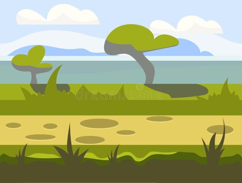 Άνευ ραφής τοπίο φύσης κινούμενων σχεδίων, ατελείωτο διανυσματική απεικόνιση