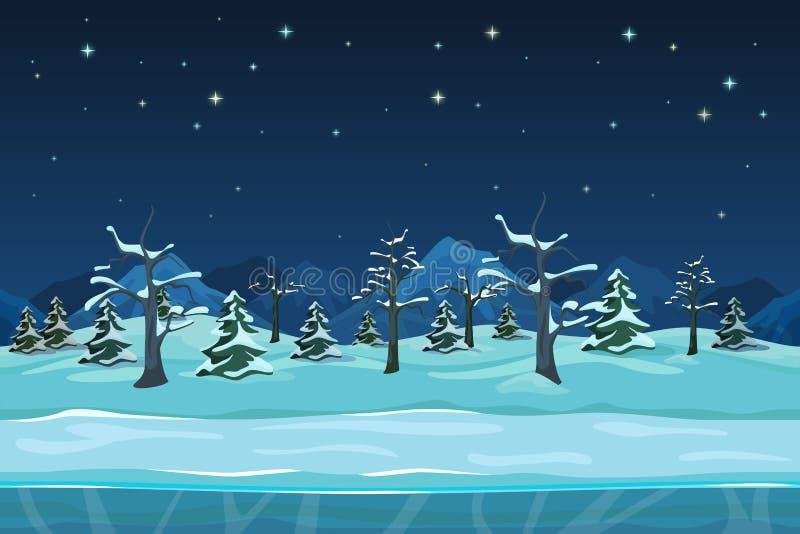 Άνευ ραφής τοπίο χειμερινής νύχτας κινούμενων σχεδίων ελεύθερη απεικόνιση δικαιώματος
