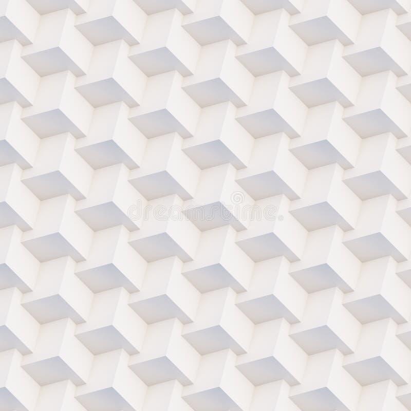 Άνευ ραφής τρισδιάστατες άσπρες και μπεζ γεωμετρικές μορφές σχεδίων στοκ εικόνες