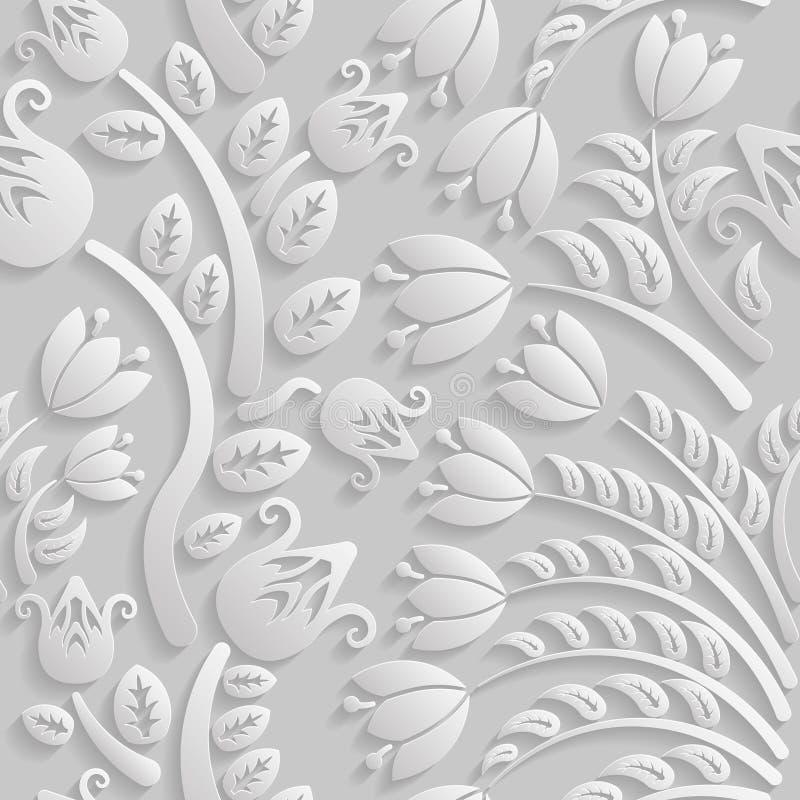 Άνευ ραφής τρισδιάστατο άσπρο σχέδιο, φυσικό floral σχέδιο, διάνυσμα Η ατελείωτη σύσταση μπορεί να χρησιμοποιηθεί για την ταπετσα ελεύθερη απεικόνιση δικαιώματος