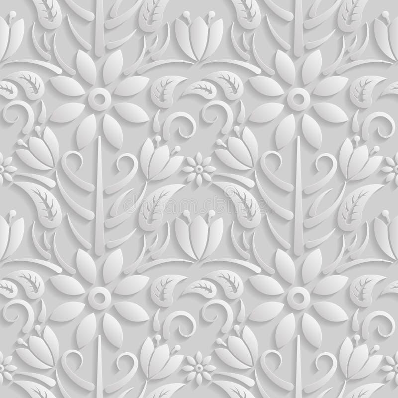 Άνευ ραφής τρισδιάστατο άσπρο σχέδιο, φυσικό floral σχέδιο, Η ατελείωτη σύσταση μπορεί να χρησιμοποιηθεί για την ταπετσαρία, το σ ελεύθερη απεικόνιση δικαιώματος