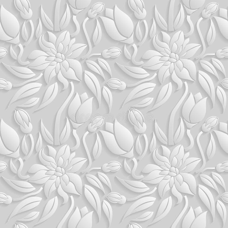 Άνευ ραφής τρισδιάστατο άσπρο floral σχέδιο, διάνυσμα Η ατελείωτη σύσταση μπορεί να χρησιμοποιηθεί για την ταπετσαρία, το σχέδιο  ελεύθερη απεικόνιση δικαιώματος