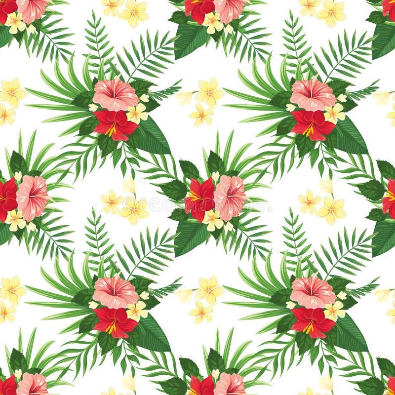 άνευ ραφής τροπικός προτύπ&omeg Θερινό τροπικό λουλούδι, φύλλα άγριων φυτών και floral διανυσματικό υπόβαθρο κομμάτων τροπικών κύ απεικόνιση αποθεμάτων