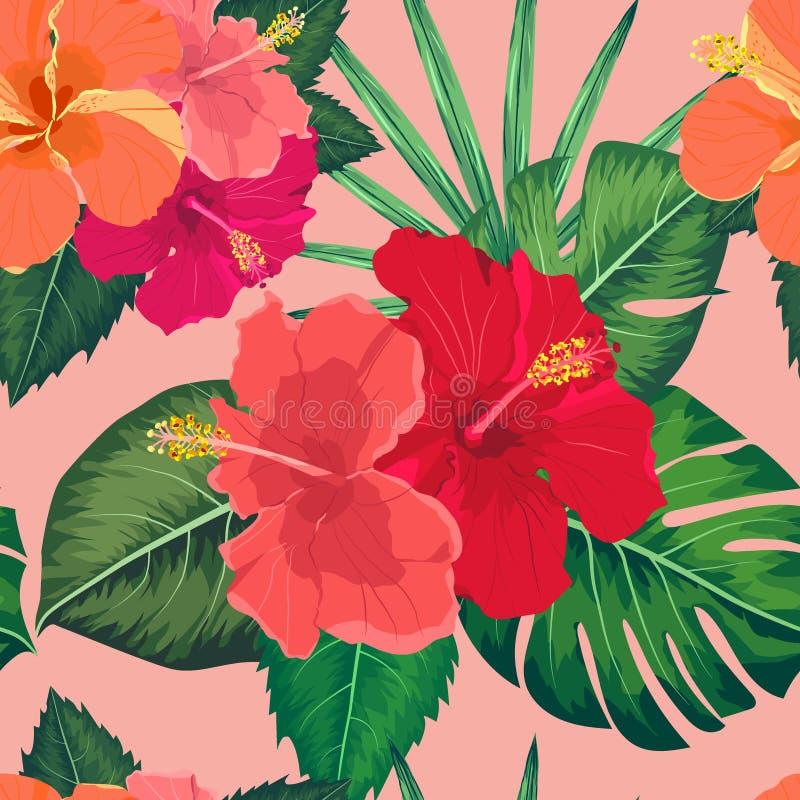 Άνευ ραφής τροπικό λουλούδι, διανυσματικό υπόβαθρο σχεδίων εγκαταστάσεων απεικόνιση αποθεμάτων