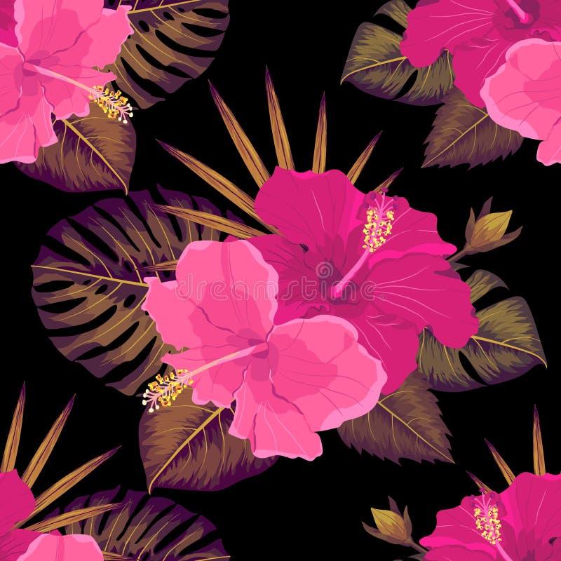 Άνευ ραφής τροπικό λουλούδι, διανυσματικό υπόβαθρο σχεδίων εγκαταστάσεων διανυσματική απεικόνιση