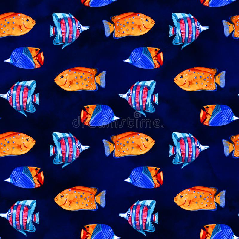 Άνευ ραφής τροπικό σχέδιο Απεικόνιση Watercolor με συρμένα τα χέρι εξωτικά ψάρια ενυδρείων στο άσπρο υπόβαθρο Μπλε σύνολο διανυσματική απεικόνιση