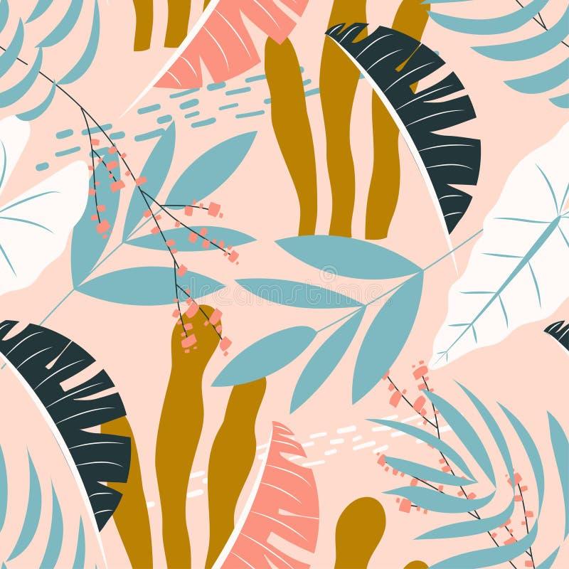Άνευ ραφής τροπικό σχέδιο με τα ζωηρόχρωμα φύλλα στο σκοτεινό υπόβαθρο o Επίπεδη τυπωμένη ύλη ζουγκλών E απεικόνιση αποθεμάτων