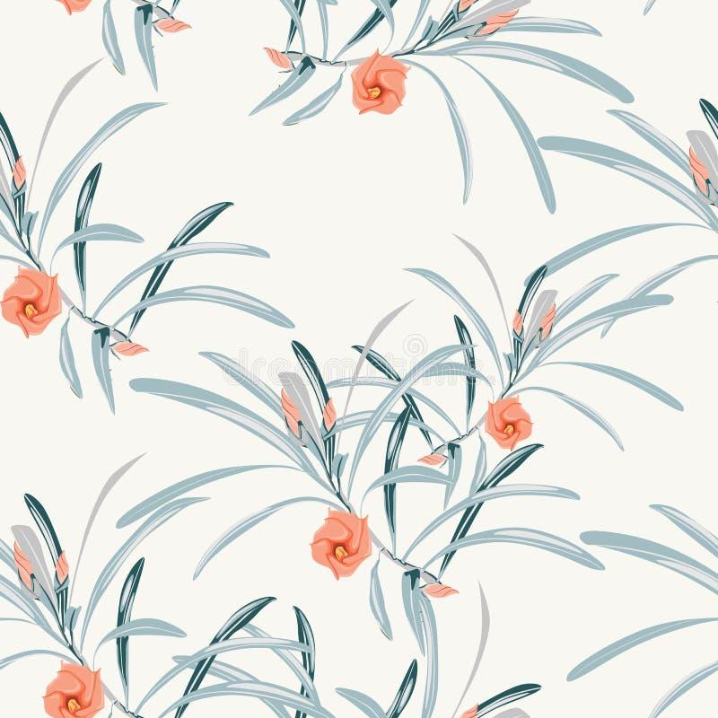 Άνευ ραφής τροπικό υπόβαθρο σχεδίων λουλουδιών Τροπικά λουλούδια, φύλλα ζουγκλών, στο ελαφρύ υπόβαθρο Εξωτική τυπωμένη ύλη απεικόνιση αποθεμάτων