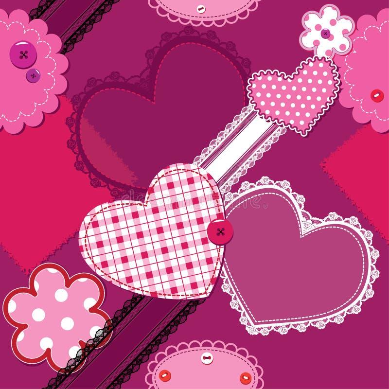 άνευ ραφής τρύγος απορρίματος προτύπων δαντελλών καρδιών απεικόνιση αποθεμάτων