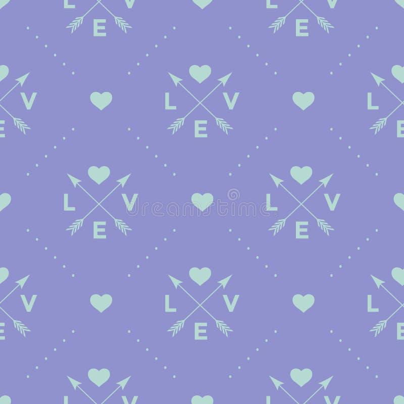 Άνευ ραφής τυρκουάζ σχέδιο με το βέλος, την καρδιά και την αγάπη λέξης σε ένα ιώδες υπόβαθρο επίσης corel σύρετε το διάνυσμα απει απεικόνιση αποθεμάτων