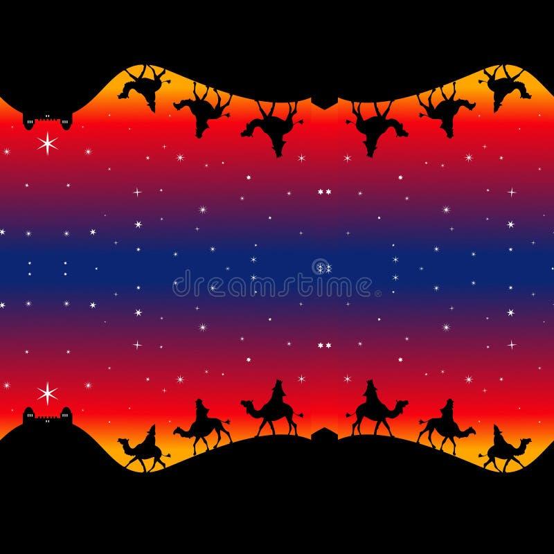 Άνευ ραφής τυλίγοντας έγγραφο μάγων Χριστουγέννων ελεύθερη απεικόνιση δικαιώματος