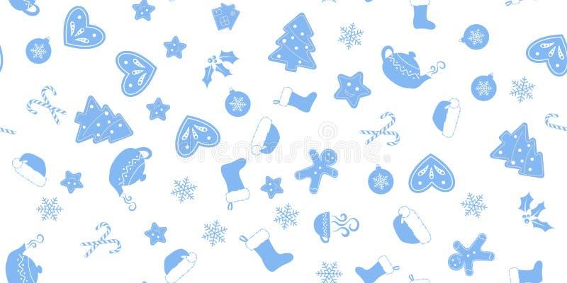 Άνευ ραφής των μπλε στοιχείων Χριστουγέννων απεικόνιση αποθεμάτων