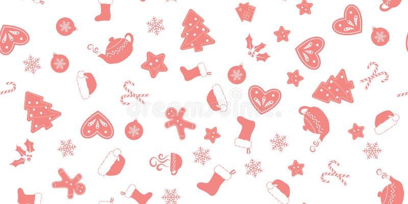 Άνευ ραφής των ρόδινων στοιχείων Χριστουγέννων ελεύθερη απεικόνιση δικαιώματος