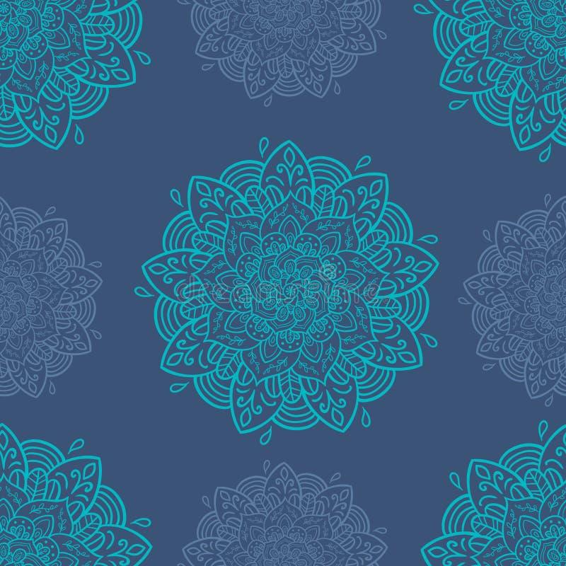 άνευ ραφής τόνοι προτύπων mandala φύλλων απεικόνισης λουλουδιών πράσινοι διανυσματική απεικόνιση