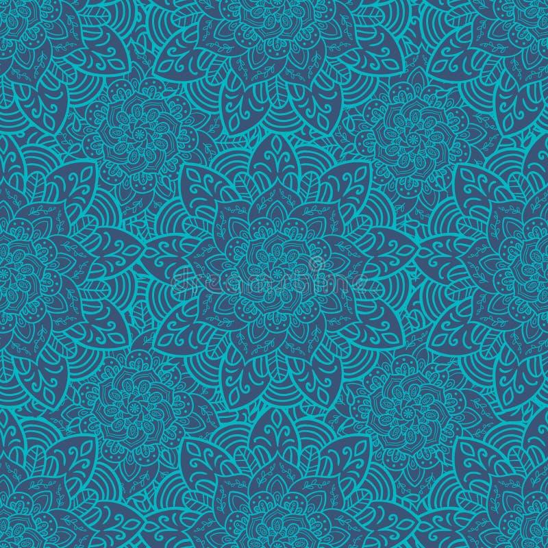 άνευ ραφής τόνοι προτύπων mandala φύλλων απεικόνισης λουλουδιών πράσινοι απεικόνιση αποθεμάτων