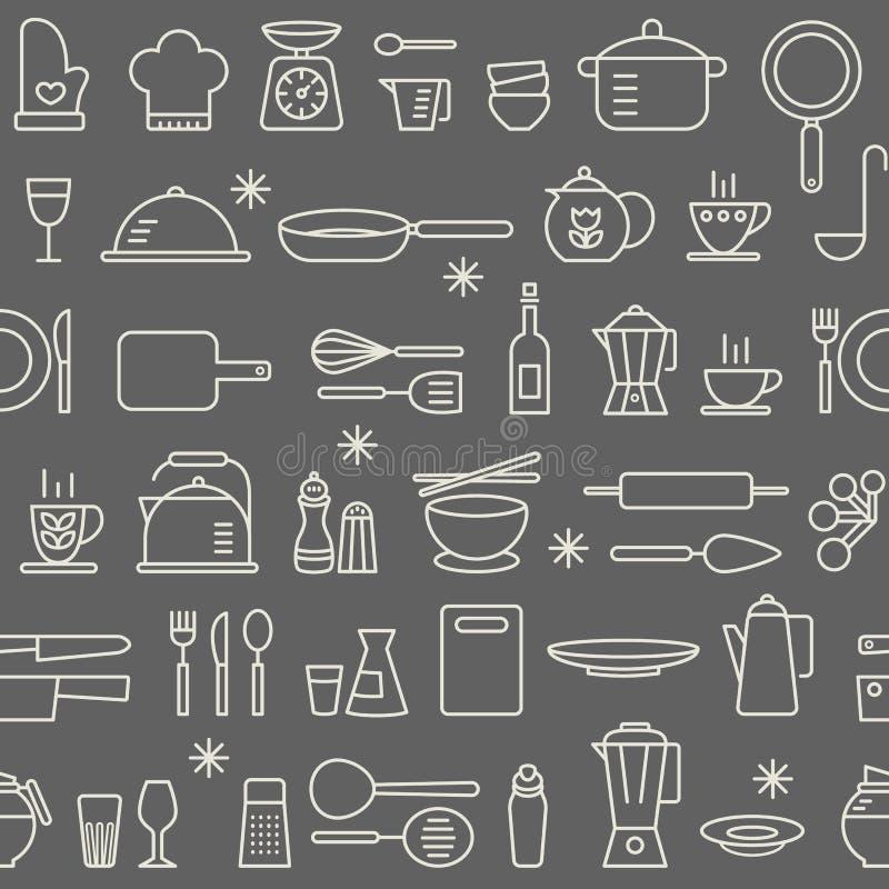 Άνευ ραφής υποβάθρου εικονίδια εργαλείων κουζινών σχεδίων μαγειρεύοντας καθορισμένα ελεύθερη απεικόνιση δικαιώματος