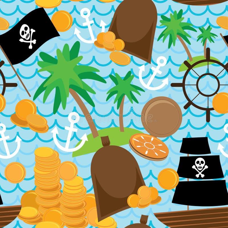 Άνευ ραφής υποβάθρου πειρατών αναδρομικό σχέδιο παιδιών νησιών ζωηρόχρωμο ελεύθερη απεικόνιση δικαιώματος