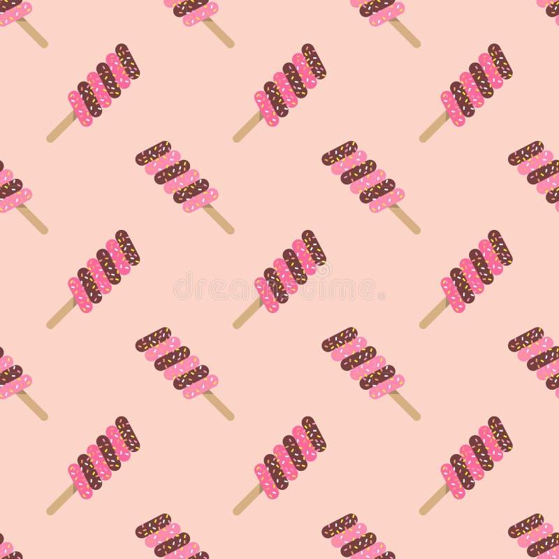 Άνευ ραφής υποβάθρου σύσταση popsicle π watercolor εικόνας ζωηρόχρωμη ελεύθερη απεικόνιση δικαιώματος