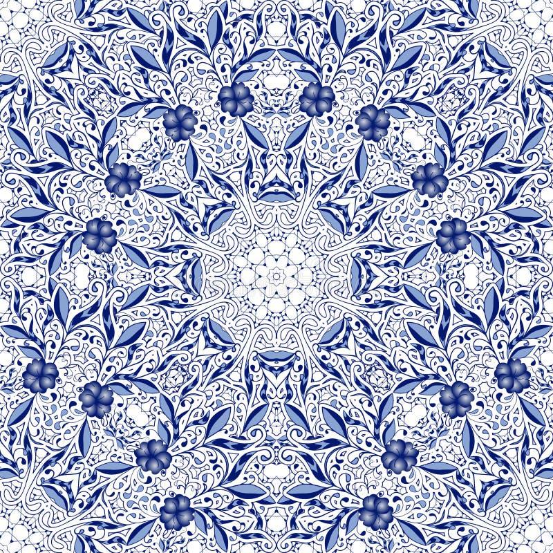 Άνευ ραφής υπόβαθρο δαντελλών με τα λουλούδια και τα φύλλα στους μπλε τόνους των κυκλικών διακοσμήσεων απεικόνιση αποθεμάτων