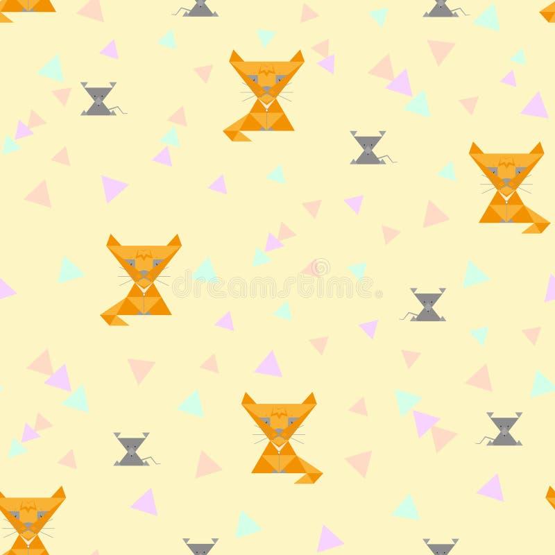 Άνευ ραφής υπόβαθρο, απεικόνιση των παιδιών των κίτρινων γατών που πιάνουν τα γκρίζα ποντίκια και τις χρωματισμένες γεωμετρικές μ ελεύθερη απεικόνιση δικαιώματος