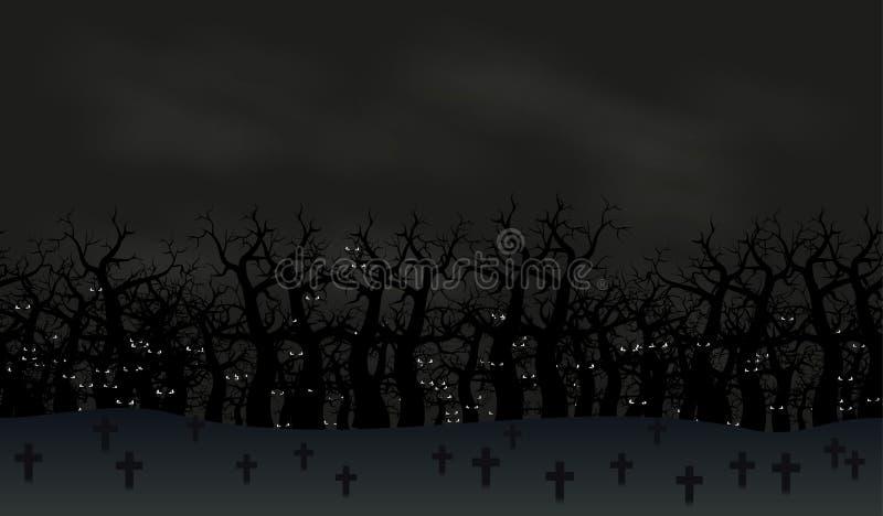 Άνευ ραφής υπόβαθρο αφισών αποκριών Ομιχλώδες τοπίο του νεκροταφείου με τα τρομακτικά μάτια ροπάλων στο σκοτάδι για διανυσματική απεικόνιση