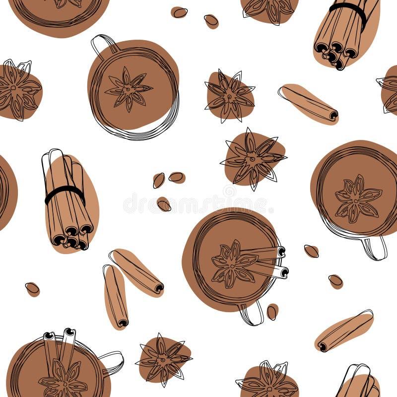 Άνευ ραφής υπόβαθρο γλυκάνισου τσαγιού, κανέλας και αστεριών διανυσματική απεικόνιση