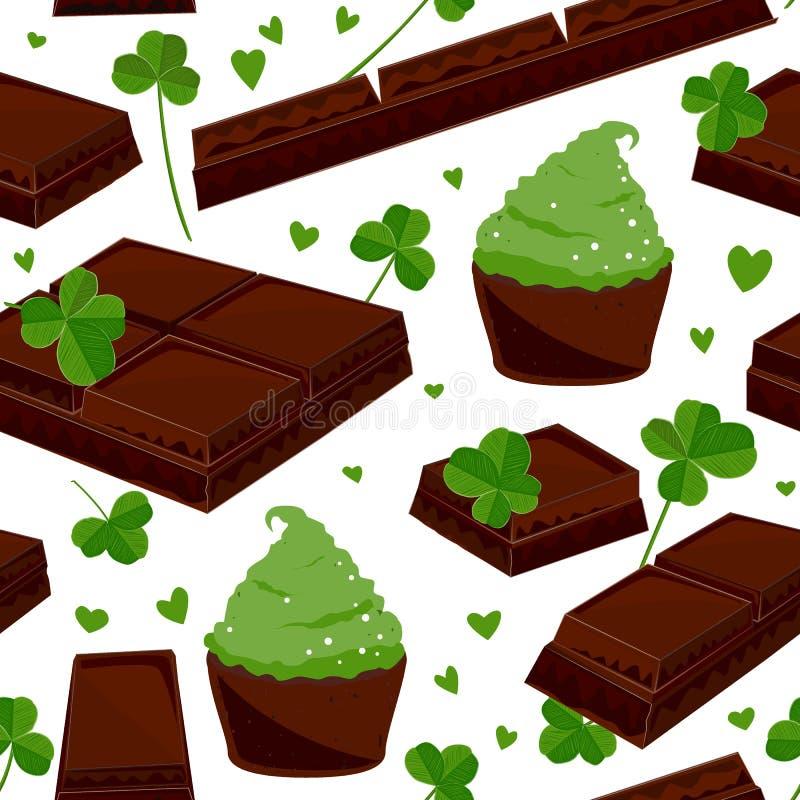 Άνευ ραφής υπόβαθρο ημέρας του ST Πάτρικ ` s με τους φραγμούς σοκολάτας φύλλων τριφυλλιού, και πράσινα cupcakes επίσης corel σύρε διανυσματική απεικόνιση