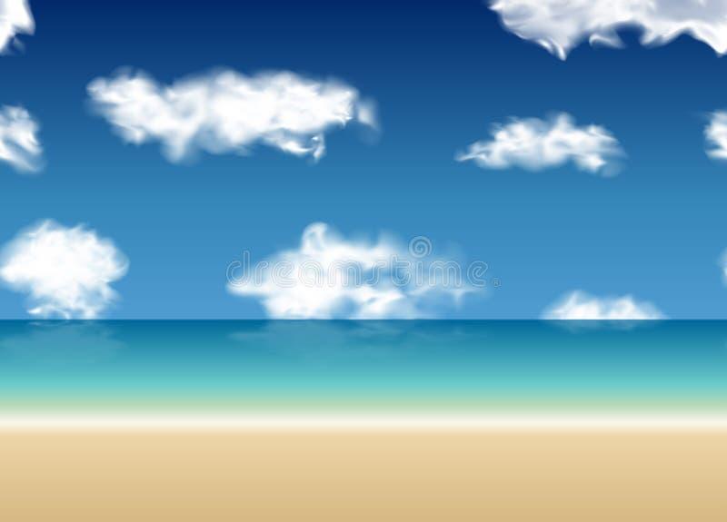 Άνευ ραφής υπόβαθρο θάλασσας θερινής άποψης διανυσματική απεικόνιση
