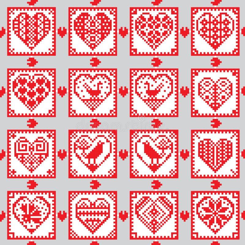 Άνευ ραφής υπόβαθρο διακοσμήσεων αγάπης στο εθνικό ύφος απεικόνιση αποθεμάτων
