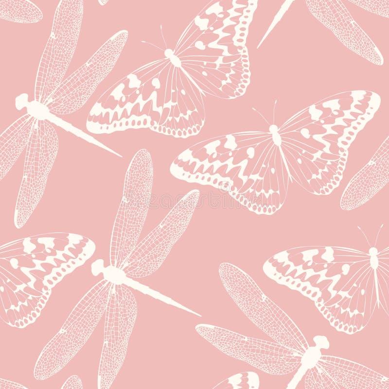 Άνευ ραφής υπόβαθρο λιβελλουλών και πεταλούδων ελεύθερη απεικόνιση δικαιώματος