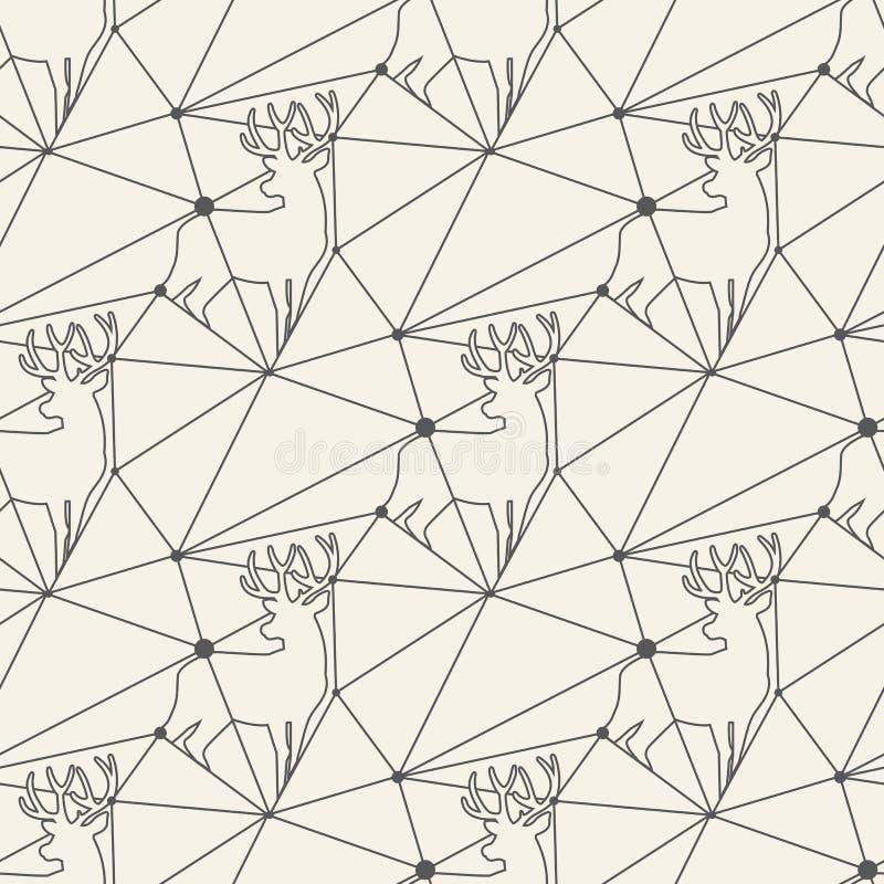 Άνευ ραφής υπόβαθρο κεραμιδιών σχεδίων γραμμών ελαφιών απεικόνιση αποθεμάτων