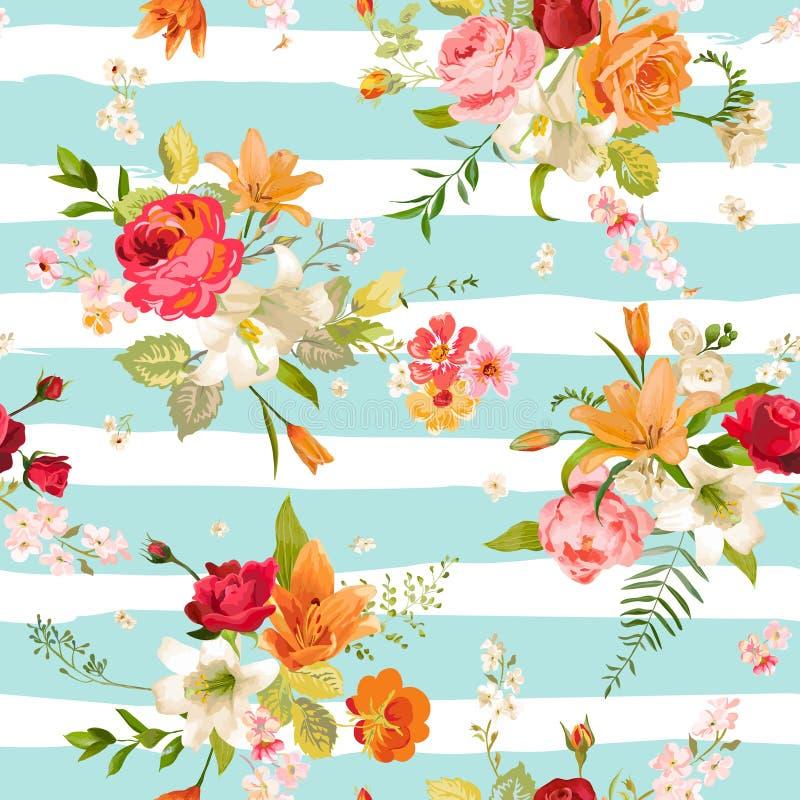 Άνευ ραφής υπόβαθρο λουλουδιών κρίνων και ορχιδεών floral πρότυπο καρδιών λουλουδιών απελευθέρωσης πεταλούδων κίτρινο απεικόνιση αποθεμάτων