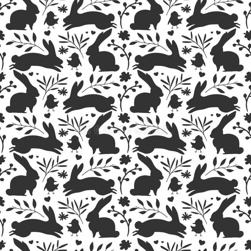 Άνευ ραφής υπόβαθρο με με τη σκιαγραφία κουνελιών και το χορτάρι, εγκαταστάσεις Λουλούδι Ταπετσαρία Πάσχας για την πρόσκληση απεικόνιση αποθεμάτων