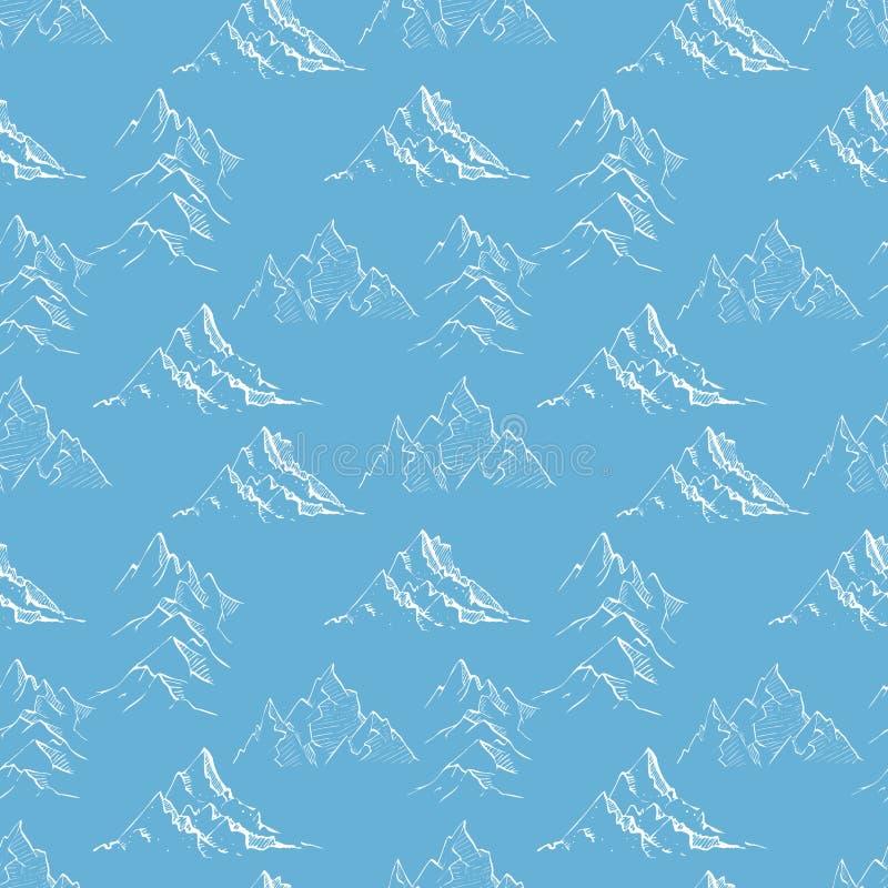 Άνευ ραφής υπόβαθρο με τα άσπρα βουνά σκίτσων doodle στο μπλε Μπορέστε να χρησιμοποιηθείτε για την ταπετσαρία, το σχέδιο γεμίζει, διανυσματική απεικόνιση