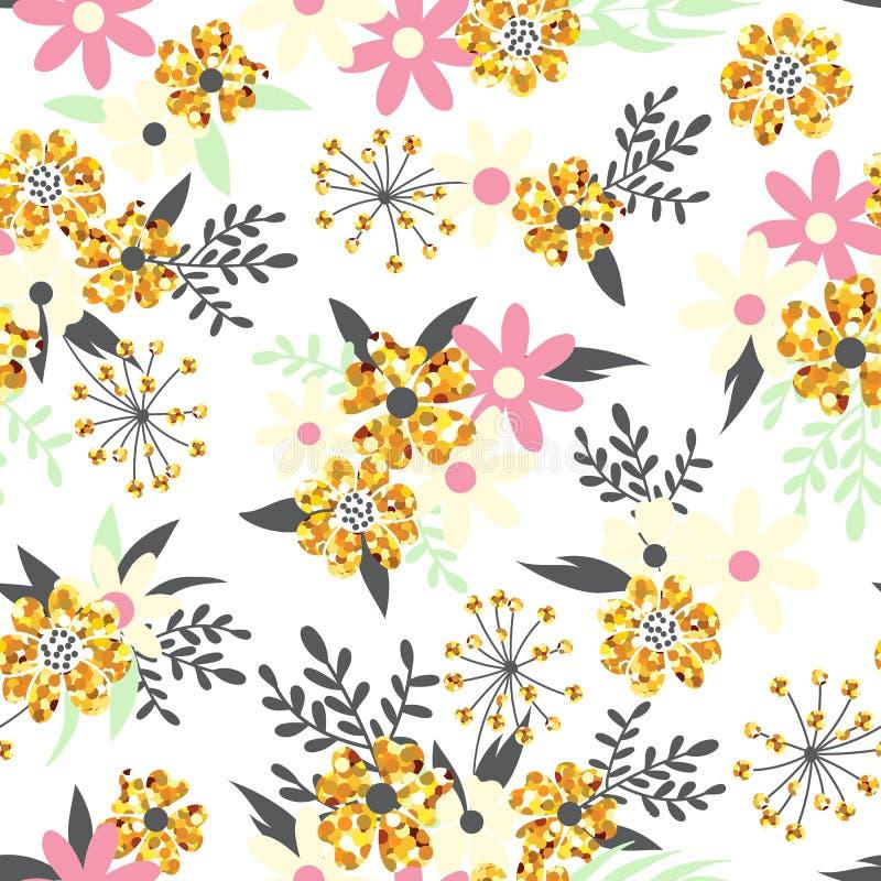 Άνευ ραφής υπόβαθρο με τα αφηρημένα λουλούδια με τα σπινθηρίσματα απεικόνιση αποθεμάτων