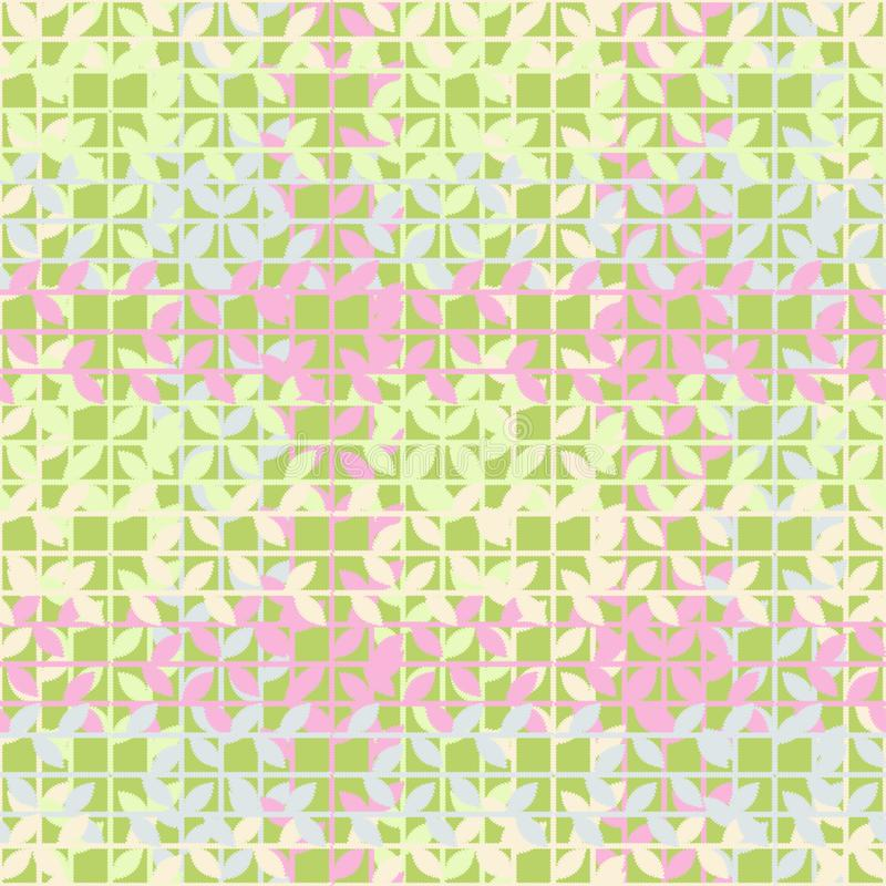 Άνευ ραφής υπόβαθρο με τα διακοσμητικά φύλλα _ Εκκόλαψη χεριών Σύσταση κακογραφίας απεικόνιση αποθεμάτων