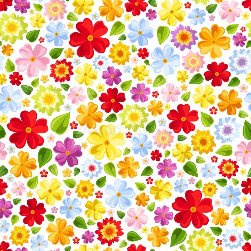 Άνευ ραφής υπόβαθρο με τα ζωηρόχρωμα λουλούδια. Διάνυσμα  απεικόνιση αποθεμάτων