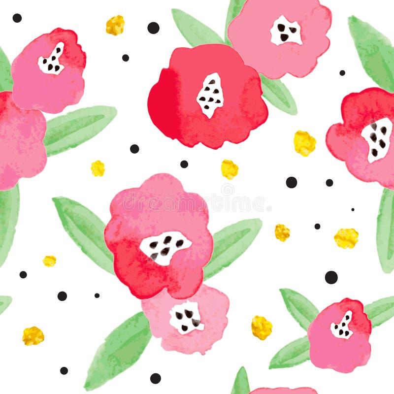 Άνευ ραφής υπόβαθρο με τα κόκκινα αφηρημένα λουλούδια διανυσματική απεικόνιση