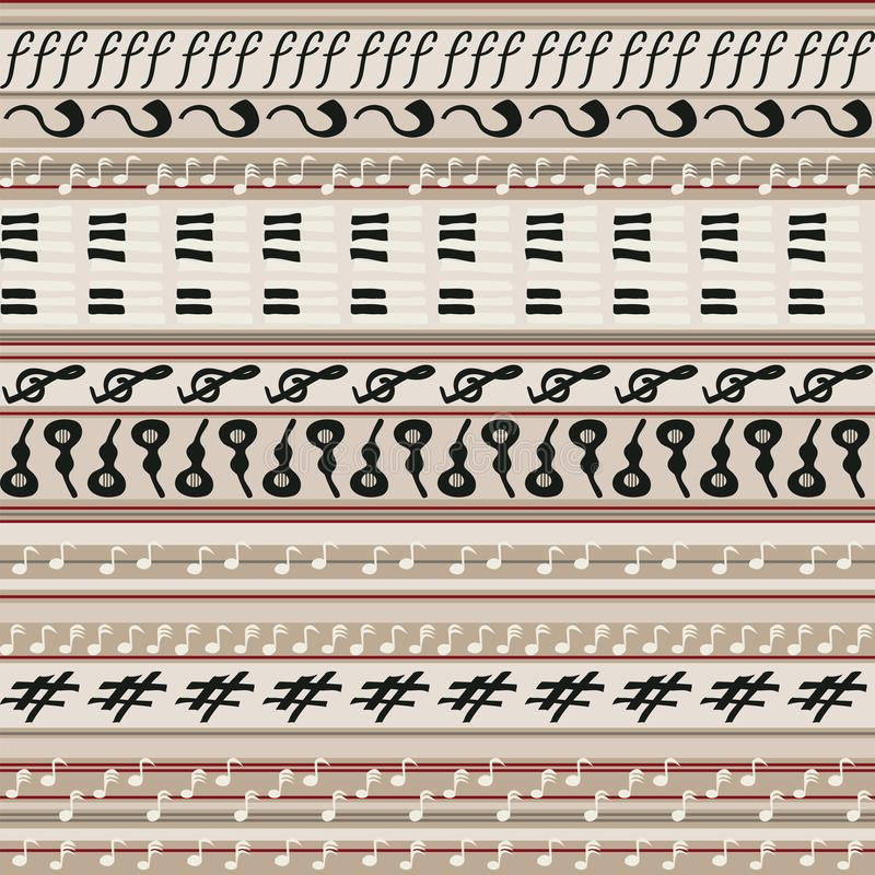 Άνευ ραφής υπόβαθρο με τα λωρίδες στο εκλεκτής ποιότητας ύφος με τα μουσικά σύμβολα απεικόνιση αποθεμάτων
