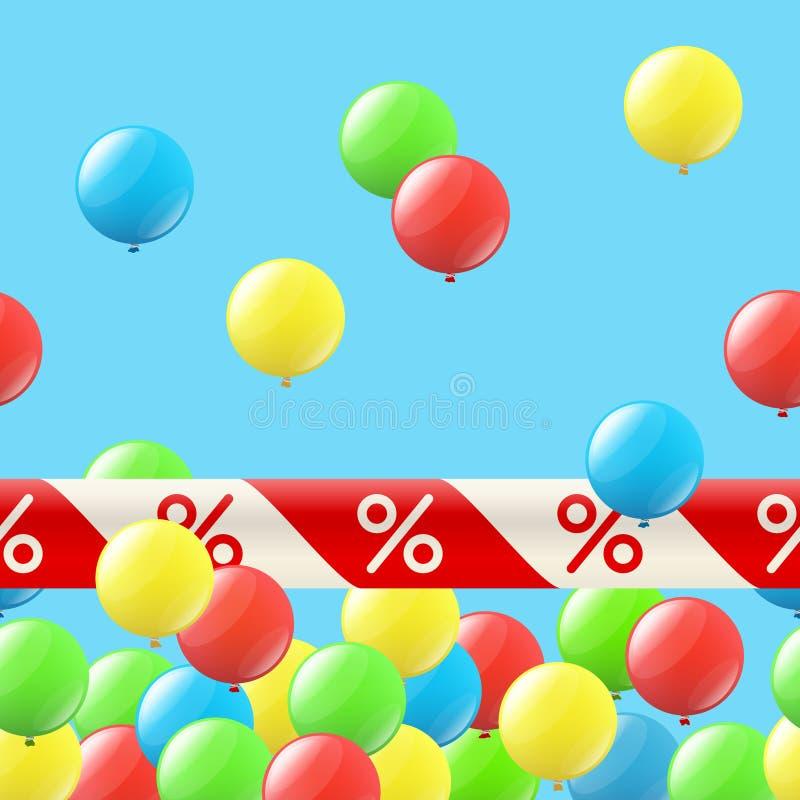 Άνευ ραφής υπόβαθρο με τα μπαλόνια και την κορδέλλα διανυσματική απεικόνιση