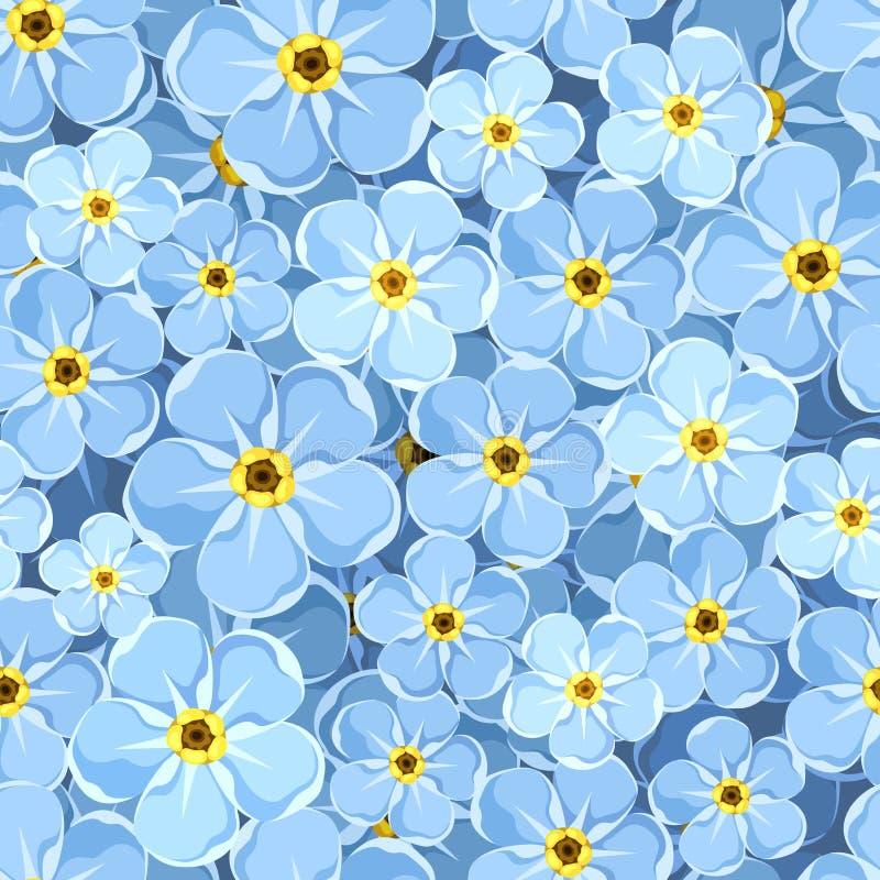 Άνευ ραφής υπόβαθρο με τα μπλε forget-me-not λουλούδια επίσης corel σύρετε το διάνυσμα απεικόνισης ελεύθερη απεικόνιση δικαιώματος