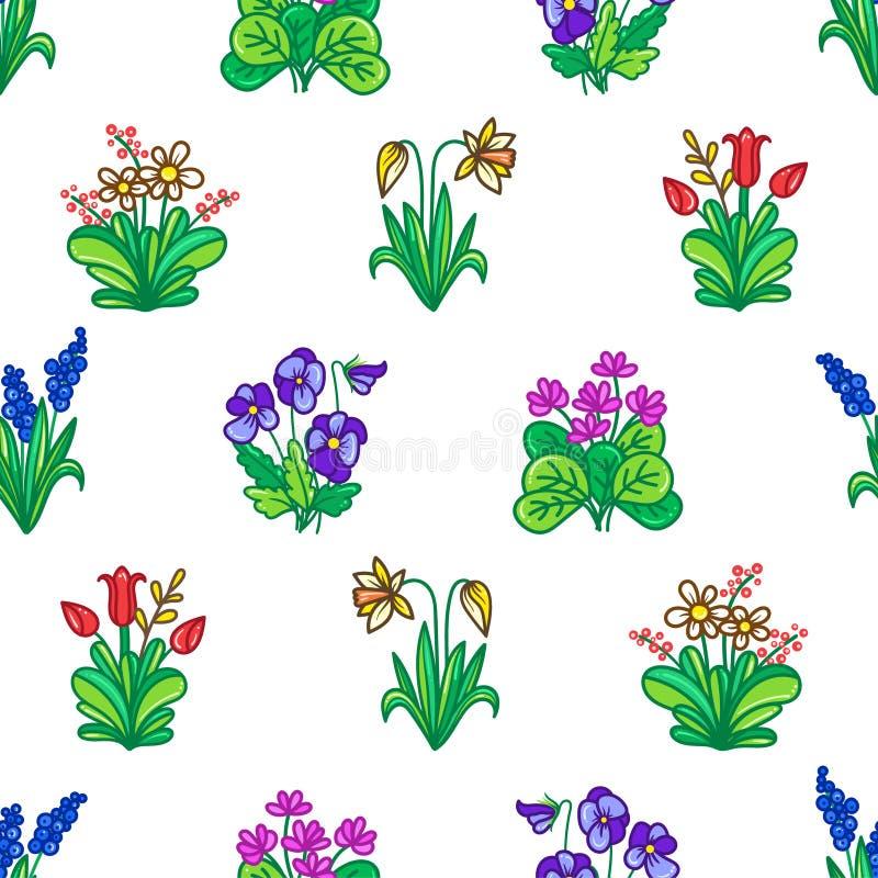 Άνευ ραφής υπόβαθρο με τα λουλούδια κήπων απεικόνιση αποθεμάτων