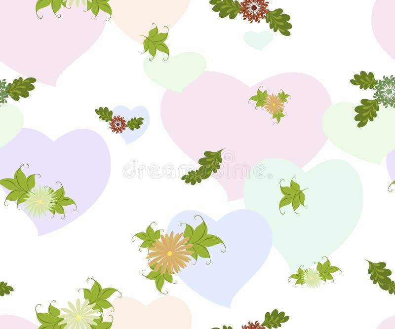 Άνευ ραφής υπόβαθρο με τα λουλούδια και τις καρδιές σε ένα ομοιογενές άσπρο υπόβαθρο EPS10 διανυσματική απεικόνιση διανυσματική απεικόνιση