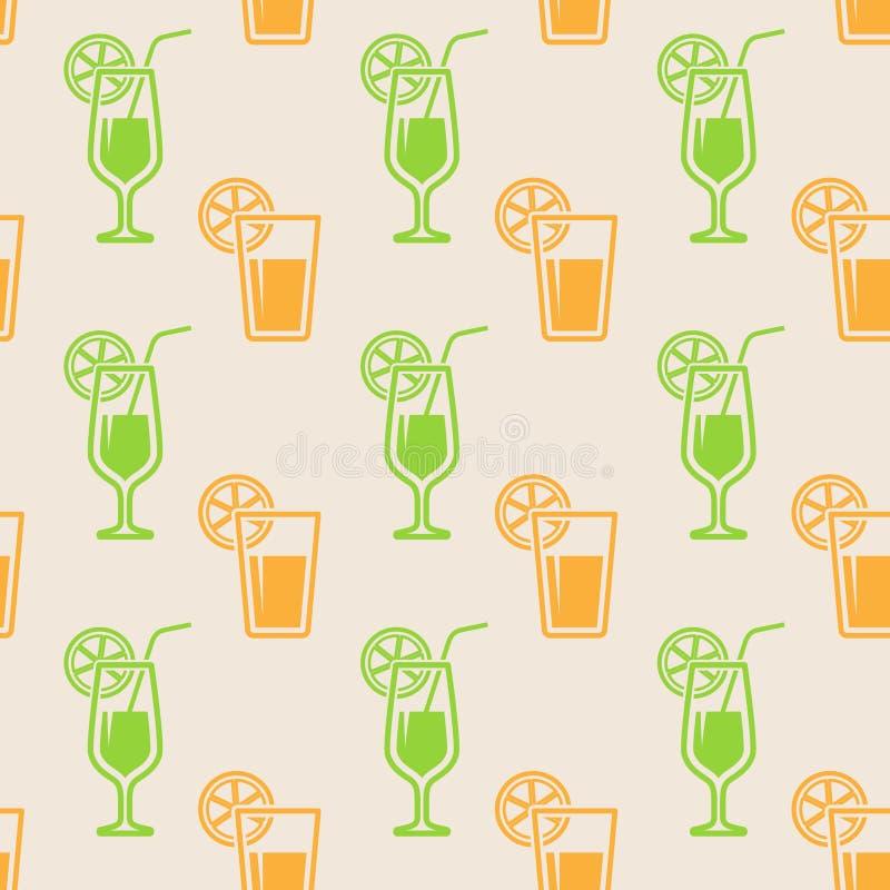 Άνευ ραφής υπόβαθρο με τα ποτήρια του χυμού διανυσματική απεικόνιση